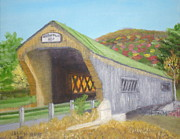 Covered Bridge Painting Metal Prints - Bartonsville Covered Bridge Metal Print by Jack McKenzie