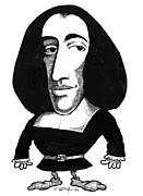 Rationalism Prints - Baruch Spinoza, Caricature Print by Gary Brown