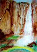 Escape Painting Posters - Basaseachl Falls Retreat of Tarahumara Poster by Stanley Morganstein