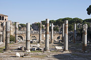 Ruinous Prints - Base of Trajans Column and the Basilica Ulpia. Rome Print by Bernard Jaubert