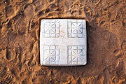 Base On Baseball Field Print by Skip Nall