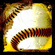 Baseball Digital Art Posters - Baseball Abstract Poster by David G Paul