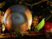 Baseball Mixed Media - Baseball abstract by Stuart Turnbull