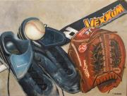 Baseball Glove Painting Metal Prints - Baseball Allstar Metal Print by Teri Vaughn