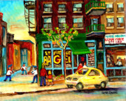 St.viateur Bagel Paintings - Baseball And A Bagel by Carole Spandau