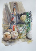 Baseball Glove Originals - Baseball and Beer by Karen Boudreaux