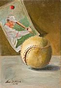 Baseball Card Paintings - Baseball and Card by Joni Dipirro