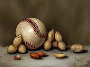 Sports Tapestries Textiles Originals - Baseball And Penuts by Clinton Hobart