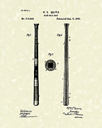 Baseball Art Drawings Metal Prints - Baseball Bat 1885 Patent Art Metal Print by Prior Art Design