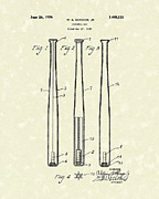Baseball Art Drawings Metal Prints - Baseball Bat 1924 Patent Art Metal Print by Prior Art Design