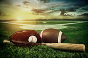 Baseball  Bat  And Mitt In Field At Sunset Print by Sandra Cunningham
