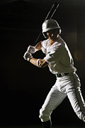 Baseball Cap Framed Prints - Baseball Batter In Batting Stance, Close-up Framed Print by PM Images