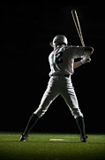 Baseball Cap Posters - Baseball Batter In Batting Stance, Rear View Poster by PM Images