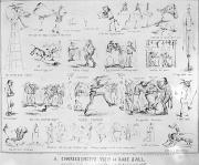 Baseball Game Framed Prints - Baseball Cartoons, 1859 Framed Print by Granger