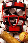 Baseball Still Life Posters - Baseball catchers mask and balls Poster by Garry Gay