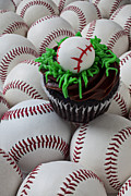 Frosting Photo Framed Prints - Baseball cupcake Framed Print by Garry Gay