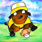 Out Fielder Paintings - Baseball Dog 3 by Scott Nelson