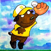 Juvenile Wall Decor Painting Prints - Baseball Dog 4 Print by Scott Nelson