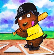 League Painting Prints - Baseball Dog Print by Scott Nelson