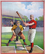 Home Plate Framed Prints - BASEBALL GAME, c1895 Framed Print by Granger