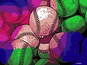 Hardball Digital Art Prints - Baseball Print by George Pedro
