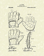 Glove Drawings Metal Prints - Baseball Glove 1910 Patent Art Metal Print by Prior Art Design