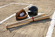 Sports Uniform Prints - Baseball Glove, Balls, Bats And Baseball Helmet At Home Plate Print by Thomas Northcut