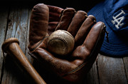 Baseball Bat Metal Prints - Baseball Glove Metal Print by Bob Nardi