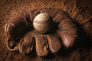 Baseball In Glove Print by John Wong