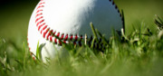 Baseball Close Up Framed Prints - Baseball in Grass Framed Print by Chris Brannen