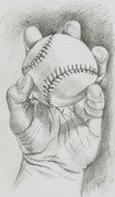 Baseball Drawings Acrylic Prints - Baseball in Hand Acrylic Print by Jason Yaw