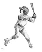 Child Drawings Prints - Baseball Kid Print by Murphy Elliott
