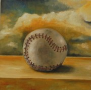 Baseball Still Life Framed Prints - Baseball Framed Print by Leah Saulnier The Painting Maniac
