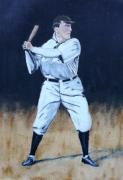 Batter Painting Prints - Baseball Legend Print by Ralph LeCompte