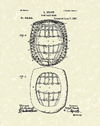 Baseball Artwork Drawings - Baseball Mask 1887 Patent Art by Prior Art Design