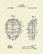Baseball Art Drawings Prints - Baseball Mask 1912 Patent Art Print by Prior Art Design