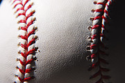 Baseball Seam Photo Metal Prints - Baseball Metal Print by Michael Clubb