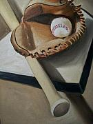 Bat Painting Metal Prints - Baseball Metal Print by Mikayla Henderson