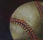 Baseball Glove Painting Metal Prints - Baseball No. 3 Metal Print by Kristine Kainer