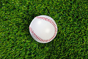 Sport Equipment Prints - Baseball on grass Print by Richard Thomas