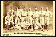 Baseball Painting Framed Prints - Baseball Panoramic Metropolitan Nine Circa 1882 Framed Print by Pg Reproductions