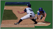 Sport Artist Digital Art Prints - Baseball Pick Off Attempt 02 Print by Thomas Woolworth