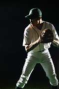 Baseball Cap Posters - Baseball Pitcher About To Pitch, Close-up Poster by PM Images