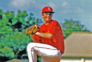 Baseball Uniform Posters - Baseball Pitcher Poster by Marilyn Holkham