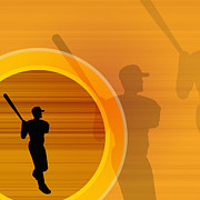 Baseball Bat Digital Art Posters - Baseball Player About To Swing, Silhouette (digital) Poster by Chad Baker