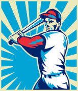 Baseball Bat Digital Art Metal Prints - Baseball Player Batting Retro Metal Print by Aloysius Patrimonio