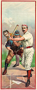 Home Plate Framed Prints - BASEBALL PLAYER, c1895 Framed Print by Granger