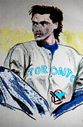Toronto Blue Jays Mixed Media Prints - Baseball Player Print by First Star Art