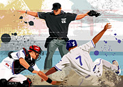 Baseball Cap Posters - Baseball Player Safe At Home Plate Poster by Greg Paprocki