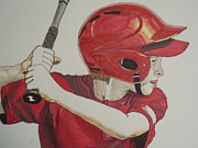 League Drawings Prints - Baseball Ready 2 Print by Michael Runner